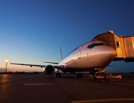 Jet airbus sunset