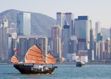 Chinese junkboat in Victoria harbour, Hong Kong