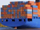 Blue containership cargo containers