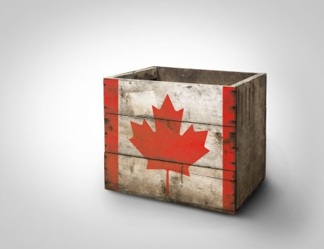 Box wooden stencil Canada flag