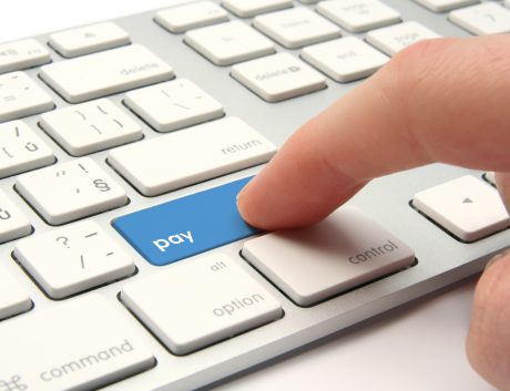 Electronic payment buy online hand keyboard