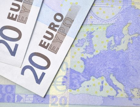 Euro banknotes map currency