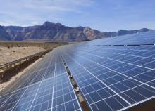 Solar panels energy dessert mountains