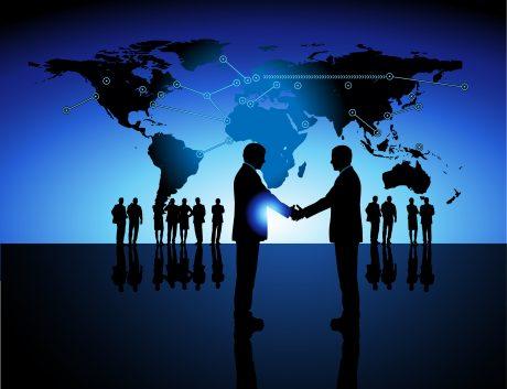 Global Business World Map Handshake Communications