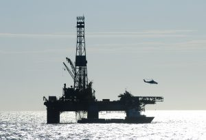 Oil Drilling Rig Helicopter Silhouette