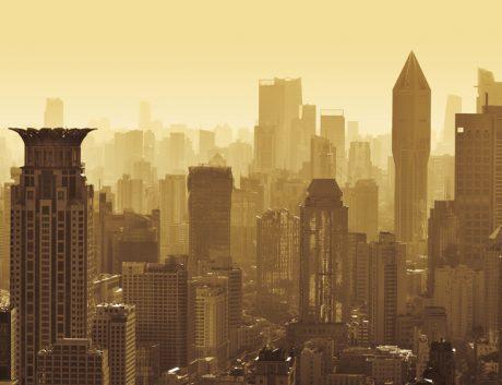 Beijing skyline at dawn.