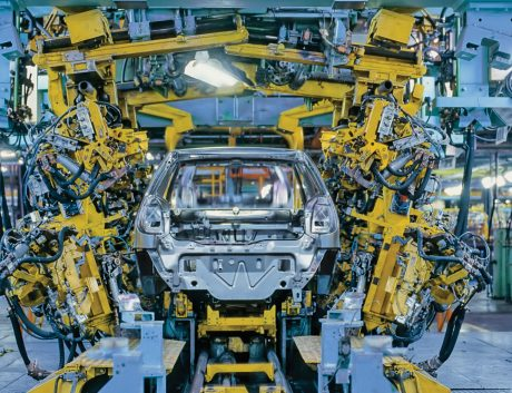 Car Industry Production Line Robot Yellow Blue_02