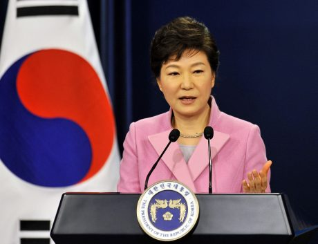 Park Geun-Hye speaks during her New Year news conference at the presidential Blue House in Seoul