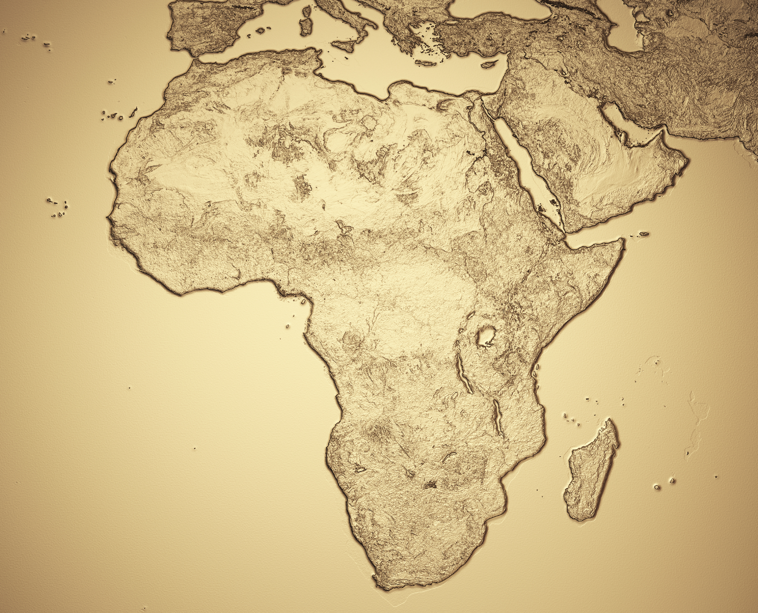 africa map in gold