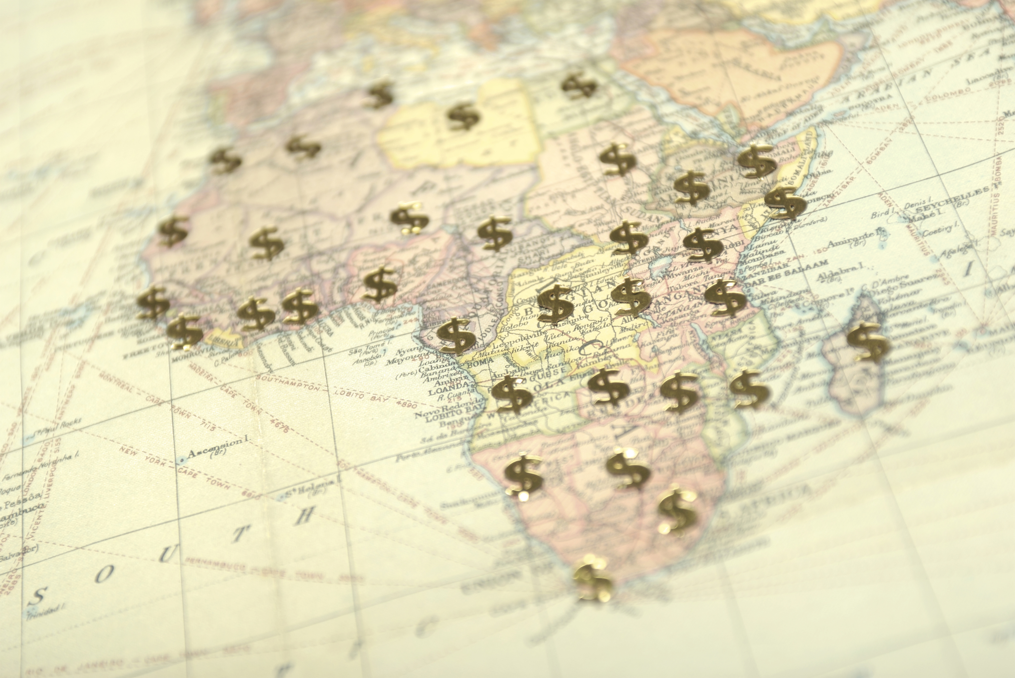 Africa map dollar signs