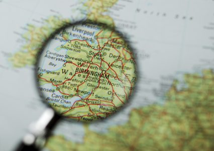 Birmingham UK Map Magnifying Glass
