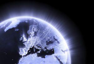 Blue glowing Earth crop Europe