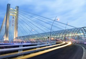Bucharest bridge Romania dusk