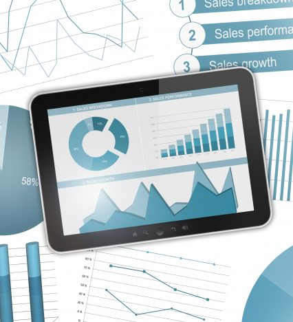 Business charts digital tablet