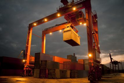 Cargo containers shipping freight dusk