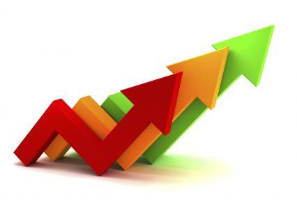 Color arrow financial chart