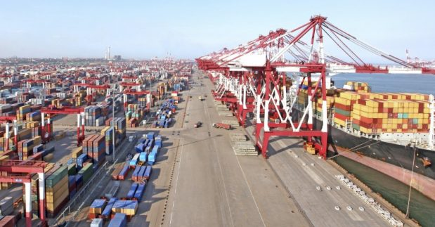 Container Terminal Warehouse Qingdao Port China
