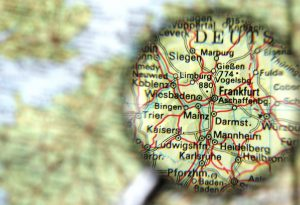 Destination Frankfurt Map Germany Magnifying Glass