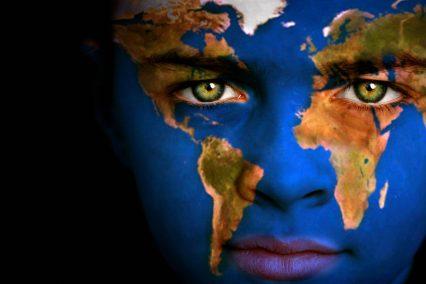 Earth Globe World Map Human Face