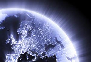 Globe Earth glowing Europe
