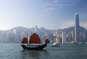 Junkboat Hong Kong skyline Asia