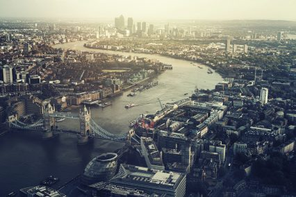 London Cityscrape Skyline Aerial View