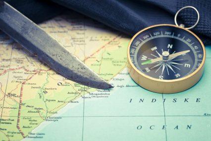Mogadishu Somalia map compass closeup