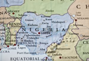 Nigeria map Africa closeup