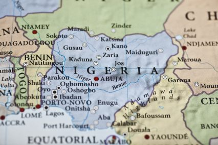 Nigeria map Africa closeup