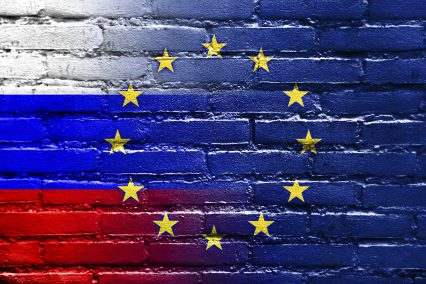 Russia European Union Flag Brick Wall