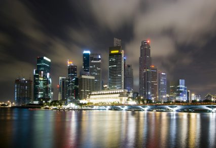 Singapore skyline city night