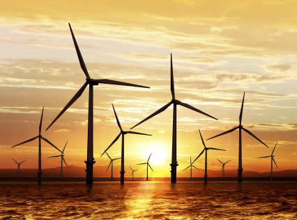 Wind turbine sustainable energy sunset