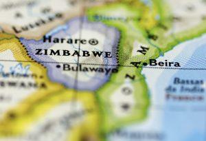 Zimbabwe map closeup