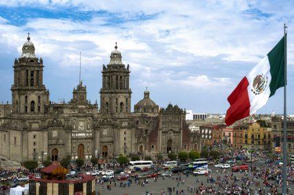 Zocalo Square Mexico City Flag