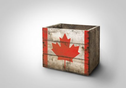 Box wooden stencil Canada flag
