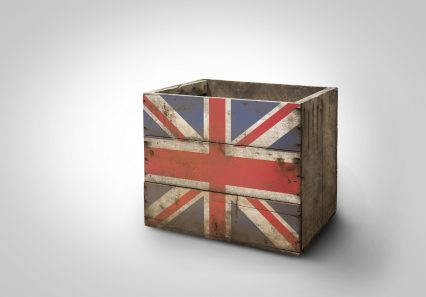 British flag stencil freight transportation box