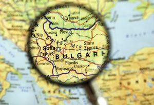 Bulgaria Sofia map magnifying glass