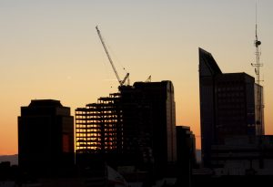Construction cityscape buildings sunset California