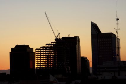 Construction cityscape buildings sunset California