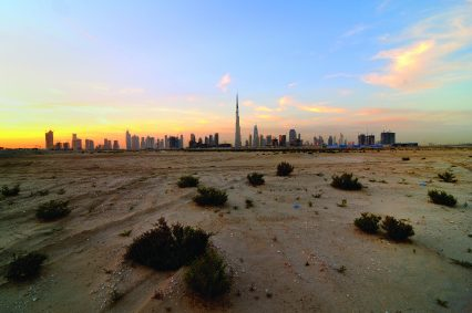 Dubai UAE desert skyline contruction panorama