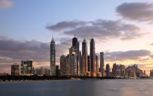 Dubai UAE marina sunset
