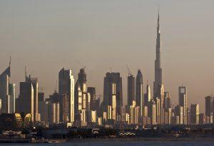 Dubai skyline Burj Khalifa UAE sunset
