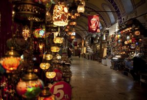 Flag lanterns grand bazaar Istanbul Turkey
