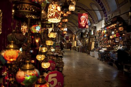 Flag lanterns grand bazaar Istanbul Turkey