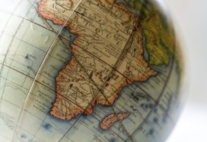 Globe earth map Africa antique