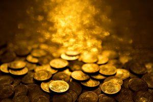 Gold coins treasure stacks