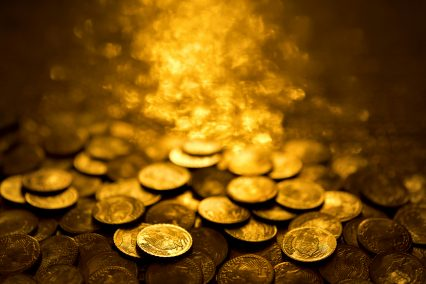 Gold coins treasure stacks