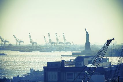 New York city harbour statue liberty