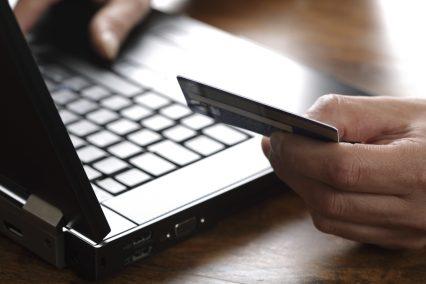 Online shopping e-commerce laptop card