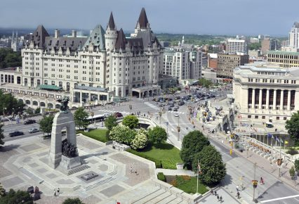 Ottawa Canada downtown Cenotaph Chateau Laurier